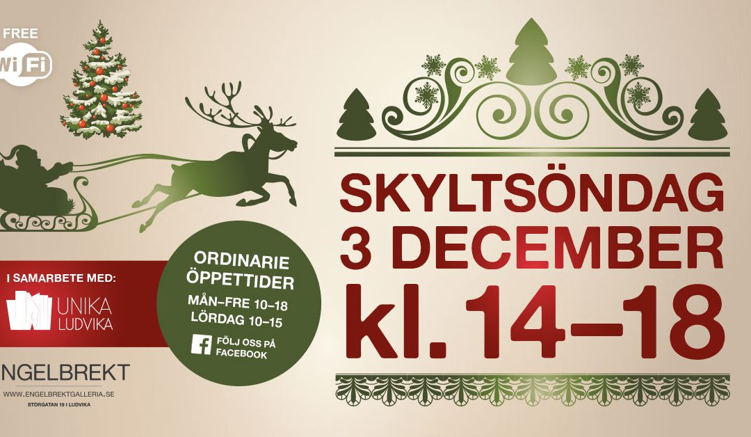 Skyltsöndag 3 december 14-18